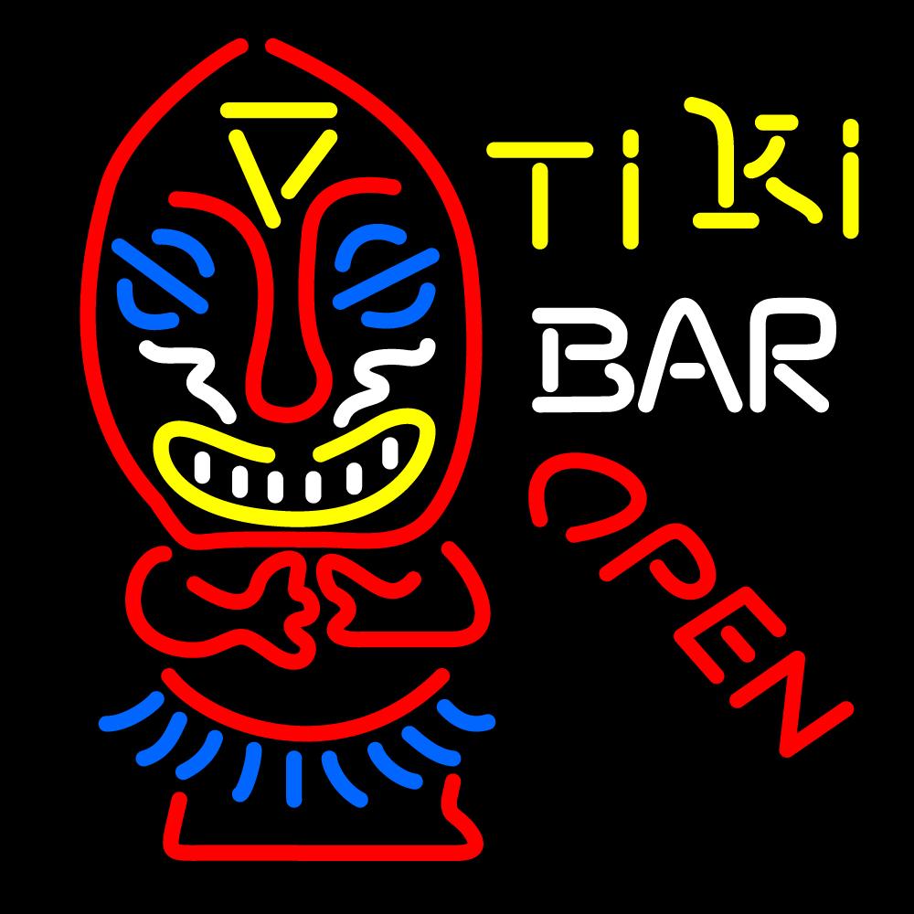 Tiki Bar Open Palm Tree Bamboo Hut Neon Sign | Tiki Bar