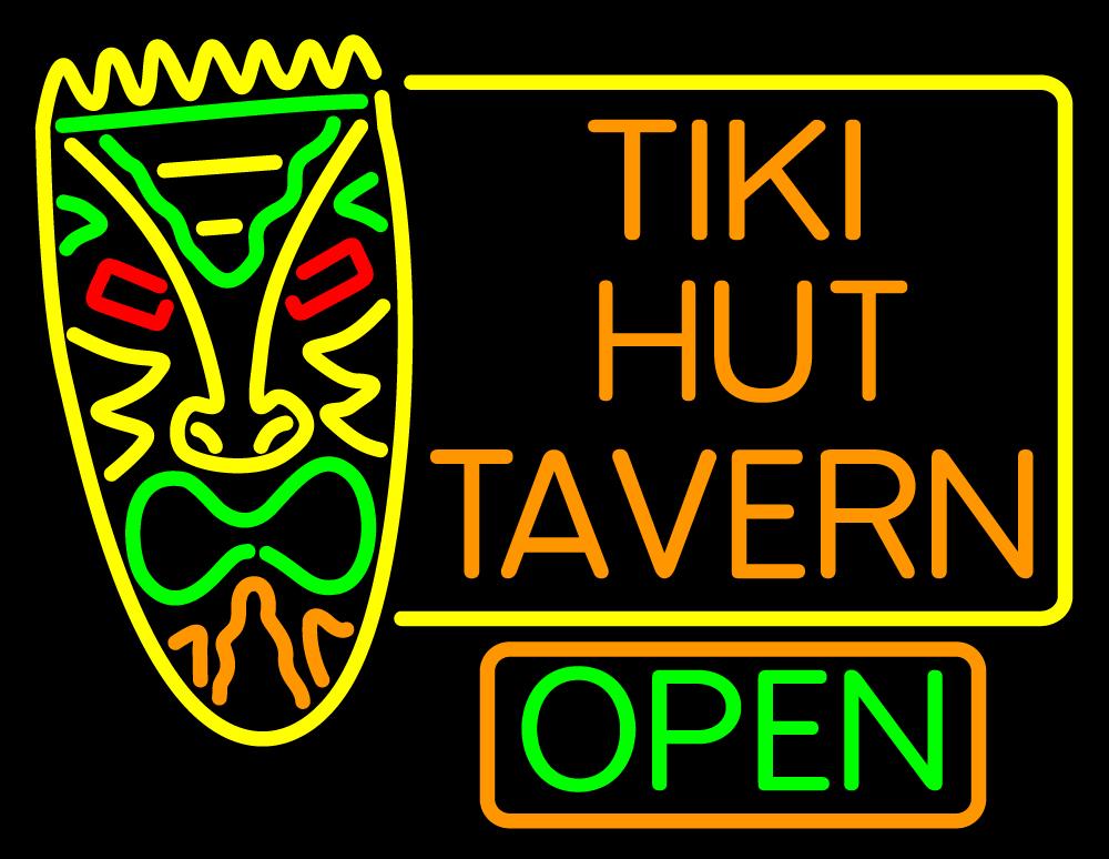 Tiki Hut Tavern Bar Neon Sign | Tiki Bar Open Neon Signs