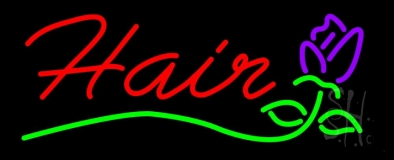 Hair with Flower Logo  Neon Sign