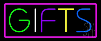 Gifts Rectangle Pink Neon Sign