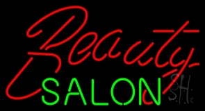 Cursive Red Beauty Salon Green Neon Sign