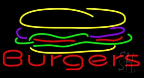 Burger Logo with Burgers Neon Sign