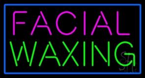 Pink Facial Waxing Blue Border Neon Sign
