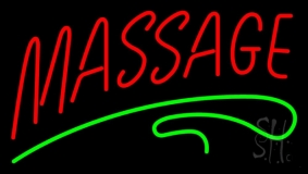 Red Massage Green Line Neon Sign