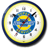 Chevy Super Service 20 Inch Neon Clock