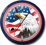 US Flag Eagle Head 20 Inch Neon Clock