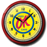 OK Used Cars 20 Inch Neon Clock