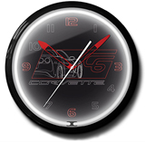 Corvette C6 Black 20 Inch Neon Clock