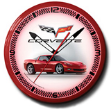 Corvette C6 Red 20 Inch Neon Clock