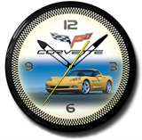 Corvette C6 Yellow 20 Inch Neon Clock