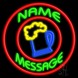 Custom Beer Mug With Circle Neon Sign