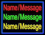 Custom In Red Green Yellow With Blue Border Neon Sign
