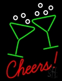 Cheers With Wine Glass Neon Sign