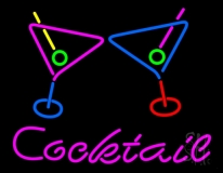 Cocktail With Two Wine Glasses Neon Sign