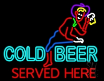 Cold Beer Served Here Neon Sign