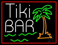Green Tiki Bar With Palm Tree Neon Sign
