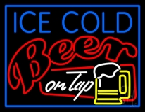 Ice Cold Beer On Top Neon Sign