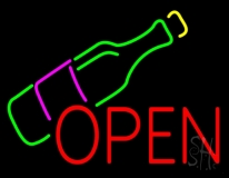 Open Wine Glass LED Neon Sign