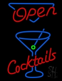 Open With Cocktail Glass Neon Sign