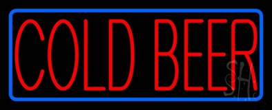 Red Cold Beer With Blue Border Neon Sign