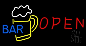 Red Open Bar With Beer Mug Neon Sign