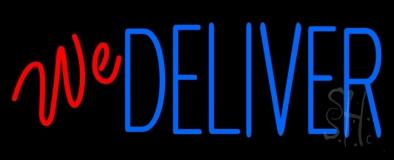 Red We Deliver Blue Neon Sign