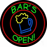 Round Bar Open With Beer Mug Neon Sign
