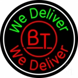 Round We Deliver Neon Sign