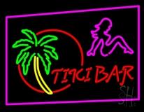 Tiki Bar Palm Tree With Girl Neon Sign
