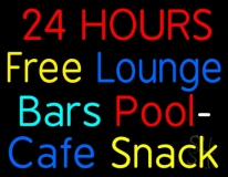 24 Hours Free Lounge Bars Pool Cafe Snack Neon Sign