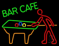 Bar Cafe With Pool Neon Sign