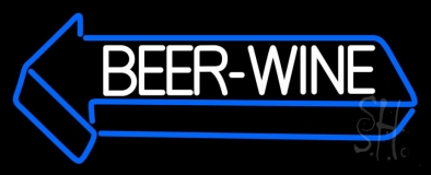 White Beer Wine With Arrow LED Neon Sign