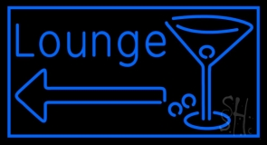 Blue Lounge With Arrow and Martini Glass Neon Sign