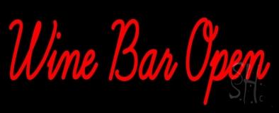 Cursive Red Wine Bar Open Neon Sign