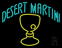 Desert Martini With Yellow Glass Neon Sign