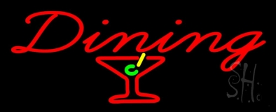 Dining With Martini Glass Neon Sign