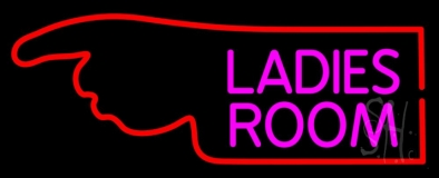 Ladies Room With Hand Pointing LED Neon Sign
