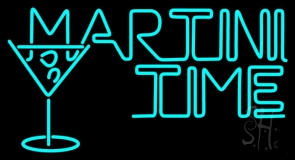 Martini Time With Martini Glass Neon Sign