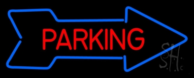 Parking With Arrow Neon Sign