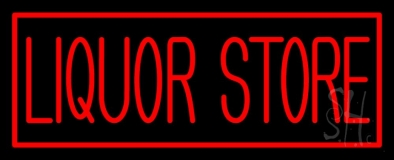 Rectange Liquor Store Neon Sign