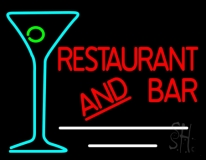 Restaurant and Bar With Martini Glass Neon Sign