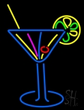 Stylized Cocktail Or Martini Glass With Lime Slice Neon Sign