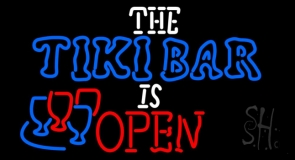 The Tiki Bar Is Open Neon Sign