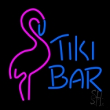 Tiki Bar with Flamingo Neon Sign