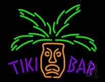 Tiki Bar with Palm Tree Neon Sign