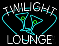 Twilight Lounge With Martini Glasses Neon Sign