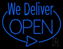 Blue We Deliver Open Neon Sign