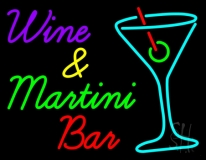 Wine and Martini Bar Neon Sign