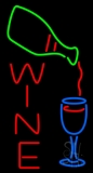 Wine With Wine Bottle Pouring Into Wine Glass LED Neon Sign