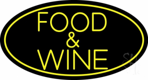 Yellow Food and Wine Neon Sign